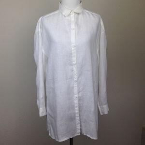 Eileen Fisher Irish Linen Button Up shirt small